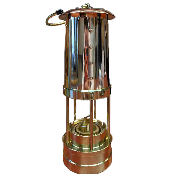 Traditional Miner Lamp Solid Brass w Copper Chimney