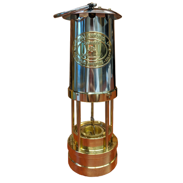 4124: Traditional Miner Type Lamp Solid Brass w Stainless Chimney