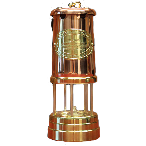 Welsh Replica Miner Lamp Brass w Copper Chimney R400-C
