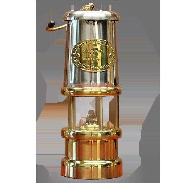 Welsh Replica Miner Lamp w Nickle Effect Chimney R401-N
