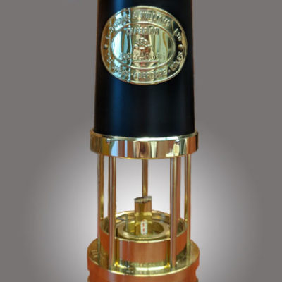 Traditional Miner Lamp Solid Brass w Black Chimney